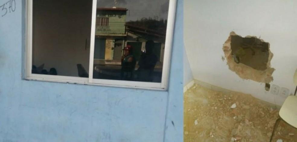 Suspeitos fizeram um buraco na parede para entrar no local (Foto: Reprodução/Blog do Pessoa)