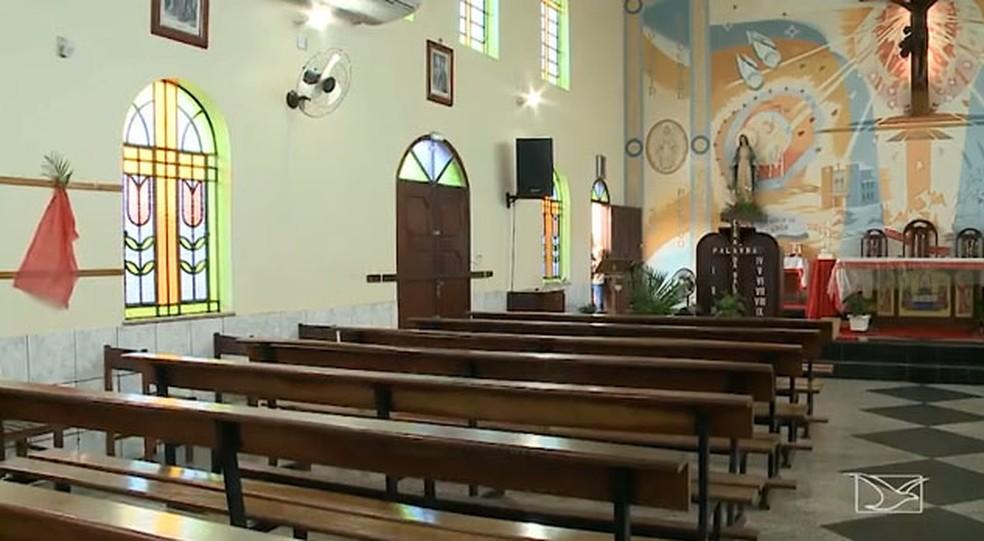 Igreja católica já foi arrombada três vezes, na Forquilha (Foto: Reprodução / TV Mirante)