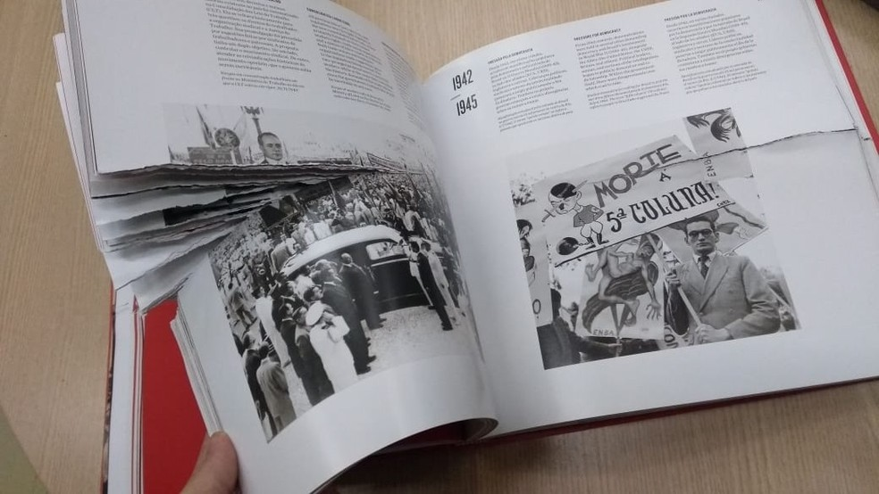 Detalhe de livro de direitos humanos da Biblioteca Cenntral da UnB que foi encontrado rasgado — Foto: Arquivo pessoal/Divulgação