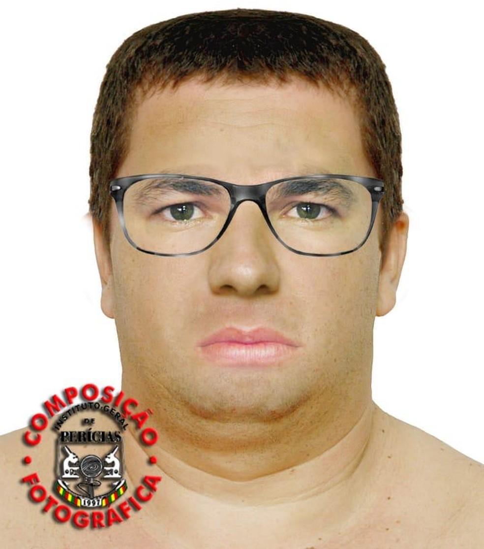 Retrato falado do suspeito de sequestrar e matar menina de 9 anos em Porto Alegre — Foto: Divulgação/Polícia Civil