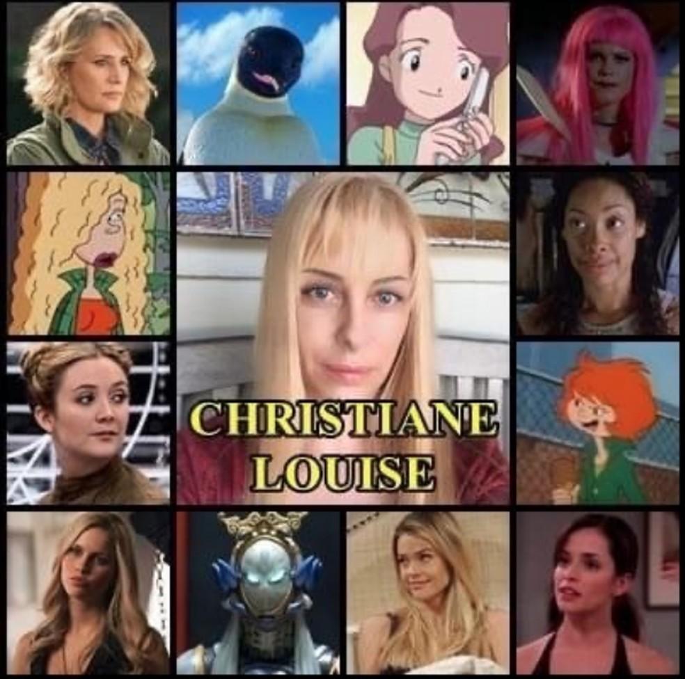 Christiane Louise e alguns personagens dublados por ela — Foto: Reprodução/Instagram