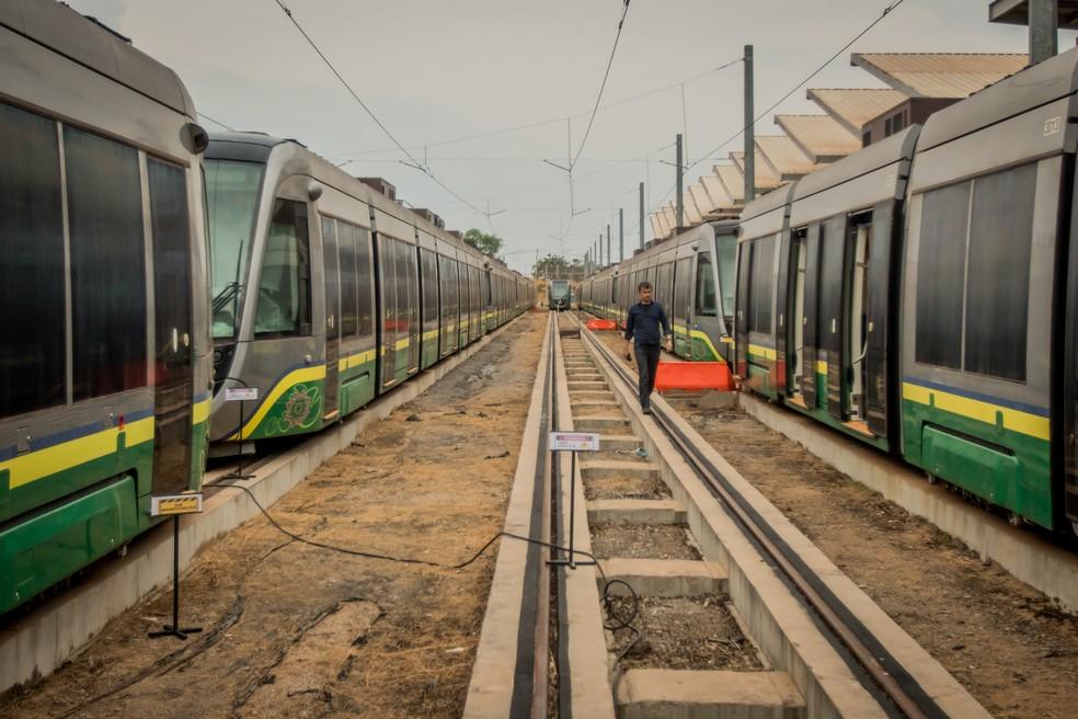 Obras do VLT estão paradas desde 2014 — Foto: Christiano Antonucci/ Secom-MT
