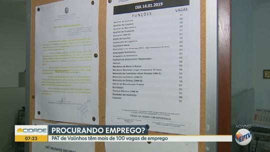 PAT de Valinhos oferece 107 vagas de emprego em diversas áreas; confira as oportunidades