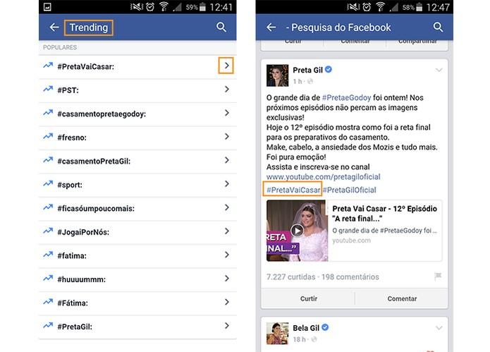 Lista com hashtags mais populares no Facebook (Foto: Reprodução/Barbara Mannara)