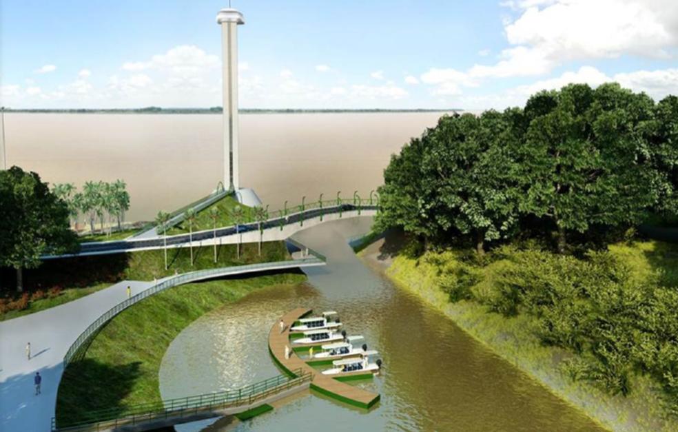 Projeto também prevê construção de marina às margens do rio para passagem do igarapé Caxangá (Foto: Prefeitura/Divulgação)