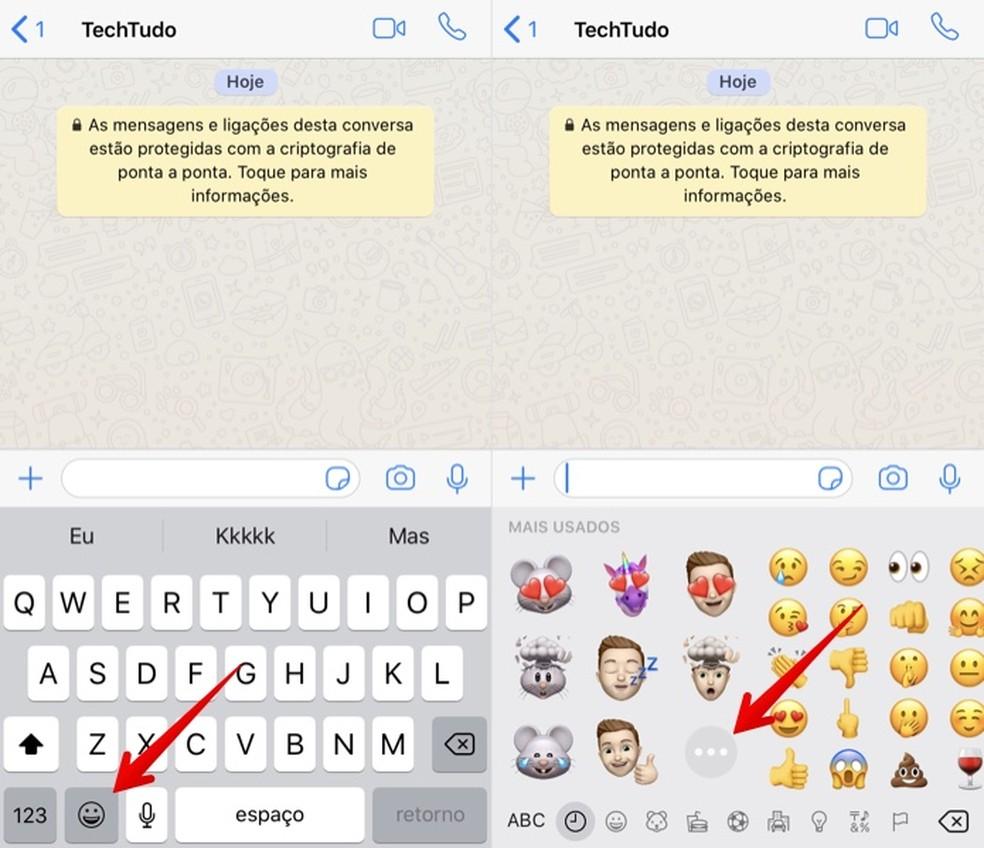 Acesse o teclado de emojis para visualizar as figurinhas de Memoji — Foto: Reprodução/Helito Beggiora