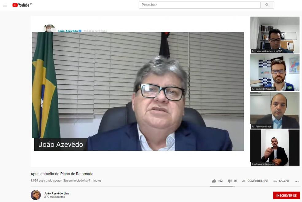 Governador da PB detalha fases de flexibilização de atividades econômicas a partir de 15 de junho — Foto: João Azevêdo/Youtube/Divulgação