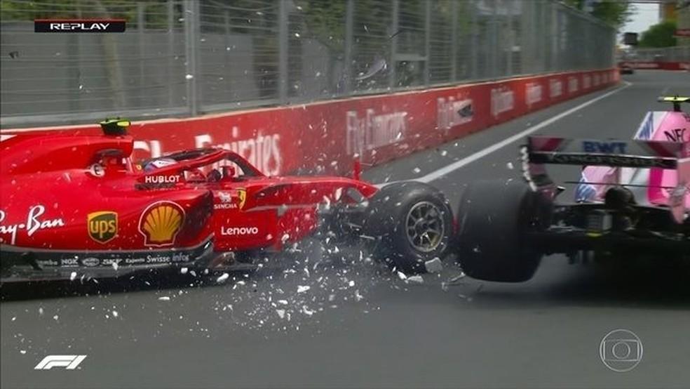 Kimi Raikkonen bateu na primeira volta em Baku mas ainda chegou em segundo (Foto: Reprodução)