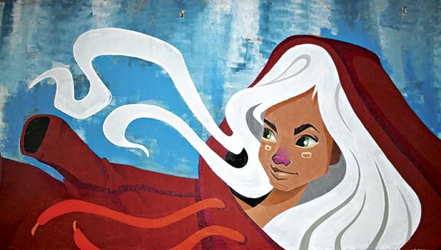 Grafite de Gabi Niu no túnel que liga as avenidas Rebouças e dr. Arnaldo (Foto: Fabiano Rodrigues)