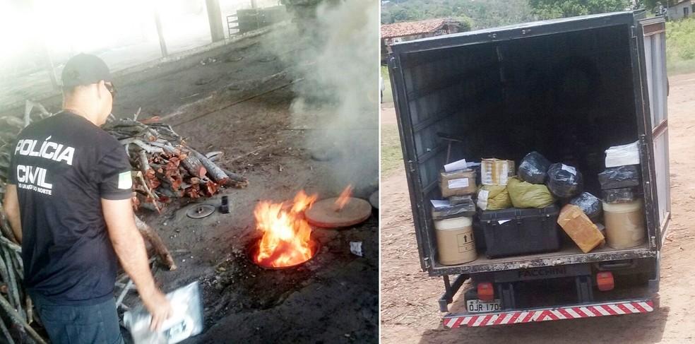 Droga foi incinerada em uma fábrica de tijolos e telhas em São Gonçalo do Amarante, na Grande Natal  (Foto: Divulgação/Polícia Civil)