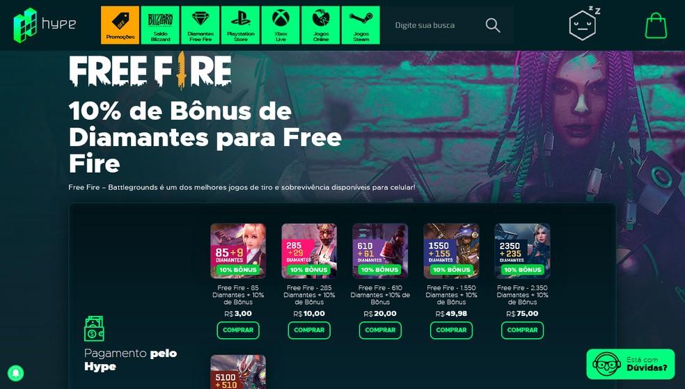 A loja Hype Games oferece até 10% de bônus de diamantes no Free Fire — Foto: Reprodução/Leandro Eduardo