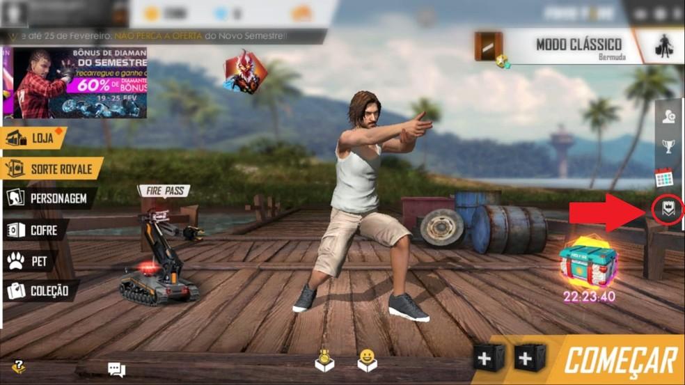 Botão para ver as guildas disponíveis do Free Fire Battleground's — Foto: Reprodução/Bruno Carvalho