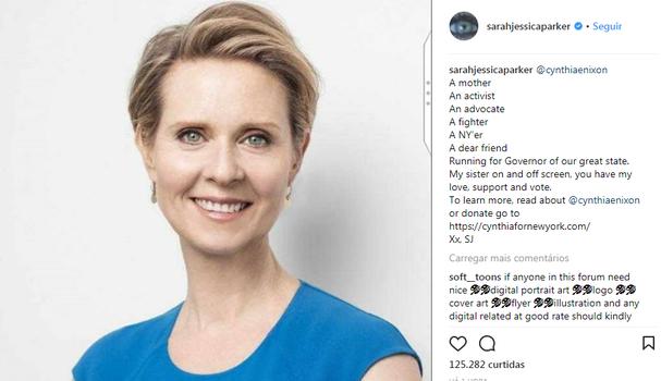 Sarah Jessica Parker escreve sobre Cynthia Nixon no Instagram (Foto: Instagram/Reprodução)