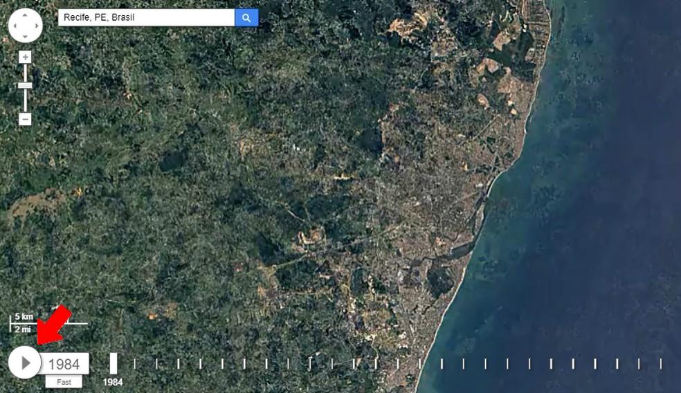 Dê o play para ver a animação que mostra a evolução das cidades no Google Earth Engine (Foto: Reprodução/Rodrigo Fernandes)