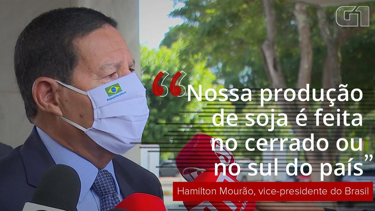 VÍDEO: 'Nossa produção de soja é feita no cerrado ou no sul do país', diz Mourão