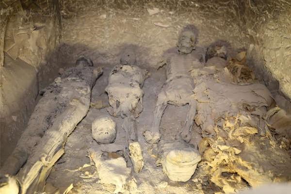 Sarcófago com vários corpos de crianças (Foto: Egyptian Ministry of Antiquities)