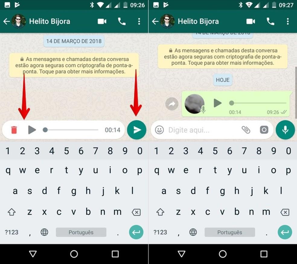 Truque permite ouvir áudio antes de enviar (Foto: Reprodução/Helito Bijora)