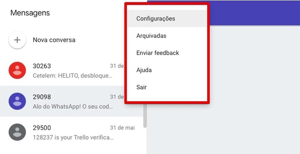 Menu do Android Mensagens na Web (Foto: Reprodução/Helito Bijora)