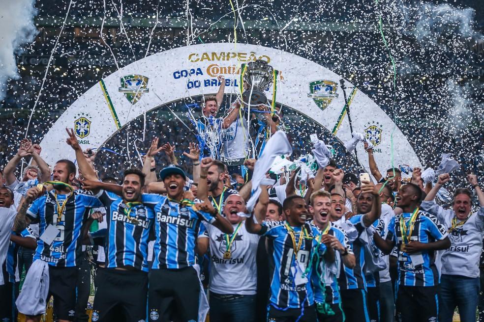 Em busca de mais uma final, Grêmio tem quatro remanescentes do time titular que conquistou o penta — Foto: Jefferson Bernardes / AFP