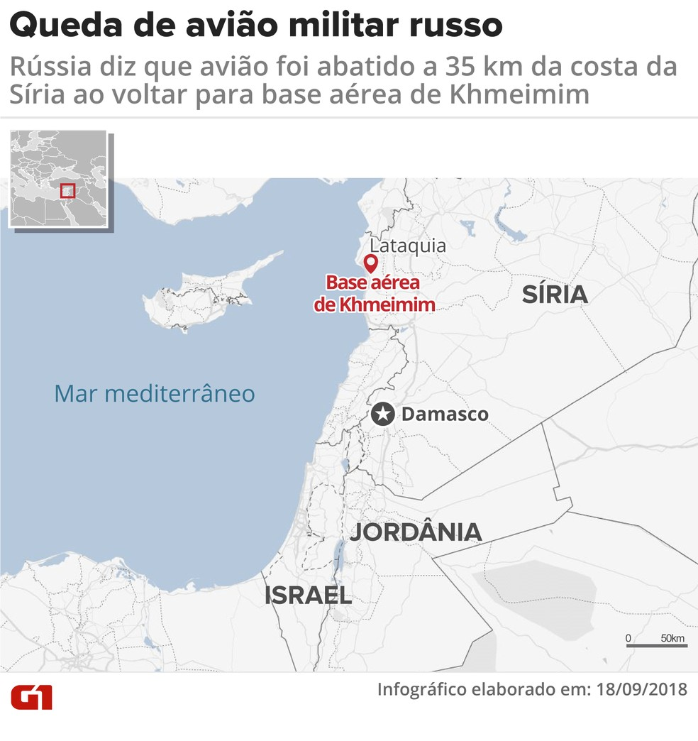Mapa mostra região da queda de avião militar russo — Foto: Juliane Souza/Arte G1
