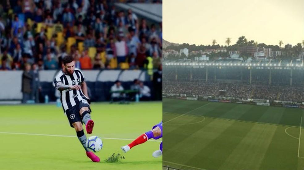 Os estádios possuem mais detalhes em PES 2020 (esquerda), com mais efeitos de iluminação que PES 2019 (direita) — Foto: Reprodução/TechTudo