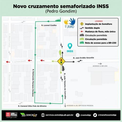 Bairro Pedro Gondim tem novo semáforo e mudança no trânsito, em João Pessoa