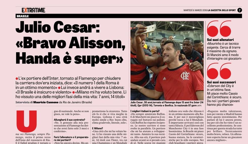 Julio Cesar fala de goleiros jovens no futebol brasileiro (Foto: Reprodução Gazzetta Dello Sport)