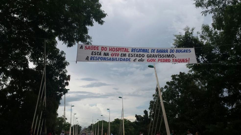 Manifestação foi realizada na MT-246 (Foto: Sheila Capistrano/Arquivo Pessoal)