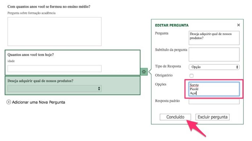 Ação para definir opções de resposta para uma pergunta em um formulário de pesquisa criado no Excel Online — Foto: Reprodução/Marvin Costa