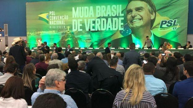 Convenção Nacional do PSL, no Rio de Janeiro, que vai lança a candidatura de Jair Bolsonaro à Presidência (Foto: BBC)