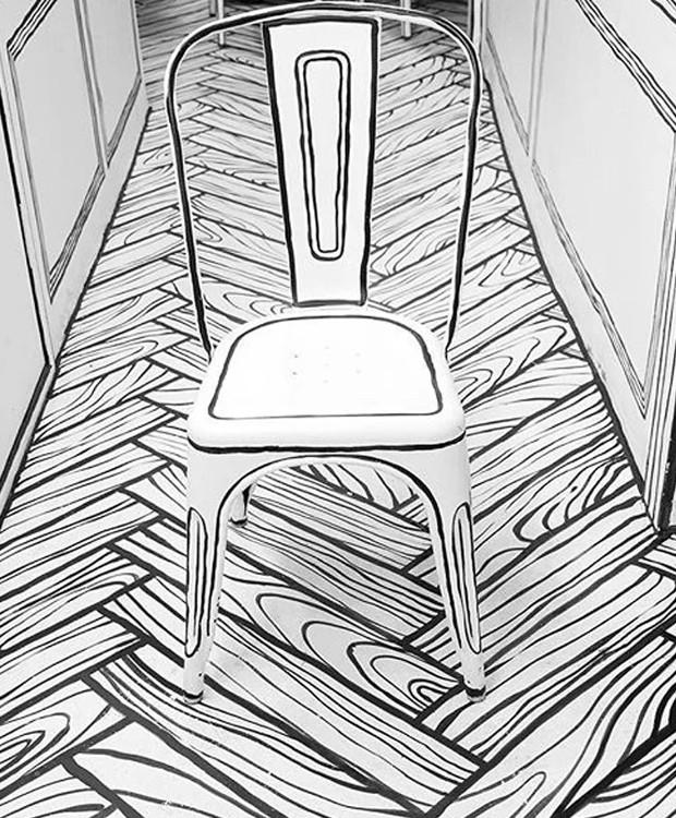 As linhas que contornam os móveis dão a impressão bidimensional (Foto: Instagram/ Reprodução)