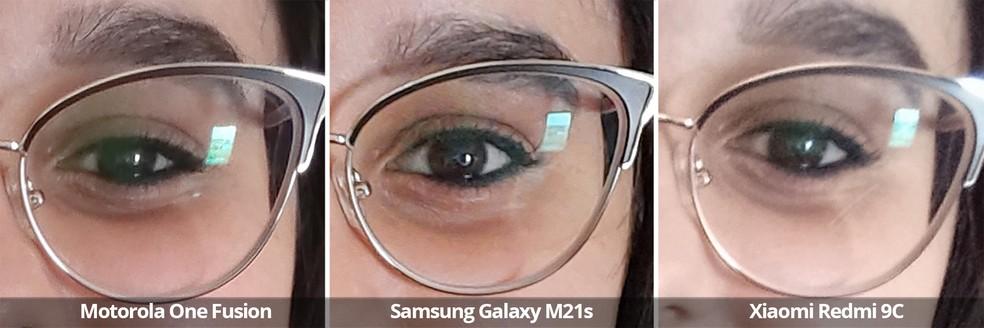 Comparativo das câmeras frontais do Motorola One Fusion, Samsung Galaxy M21s e Xiaomi Redmi 9C com luz natural em ambiente fechado no detalhe. — Foto: Arquivo pessoal