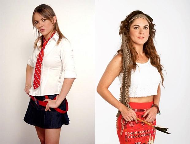 Zoraida Gomez na versão original de Rebelde, como Josy, e em Like, como a professora Isa (Foto: Reprodução / Instagram)