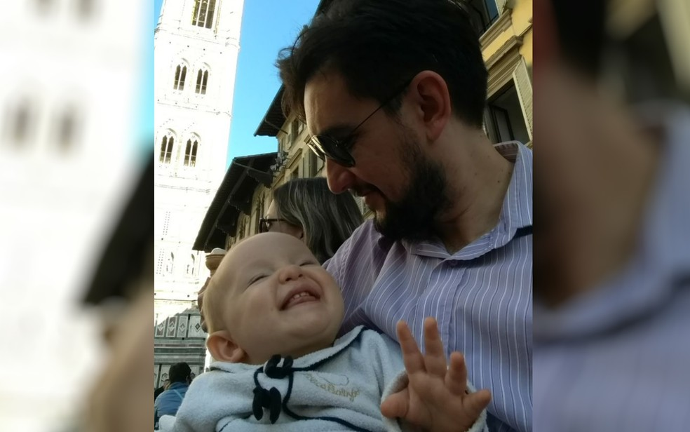 Pai de Helena disse que ficou emocionado com bênção dada pelo papa (Foto: Arquivo Pessoal/Nelson Nunes)