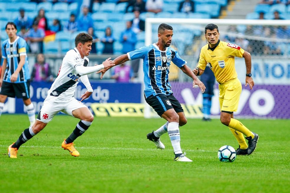No primeiro turno, Grêmio venceu o Vasco por 2 a 0 em Porto Alegre (Foto: Lucas Uebel/Divulgação Grêmio)