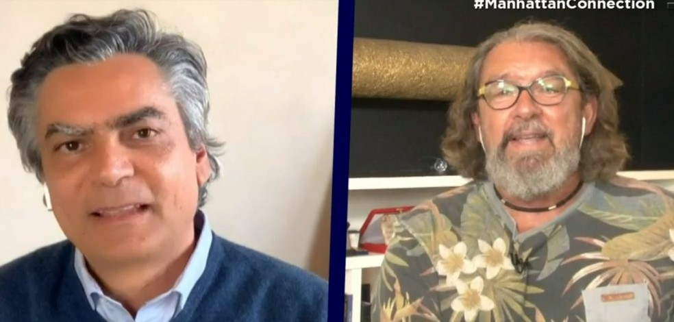 Diogo Mainardi e Kakay durante participação no 'Manhattan Connection' — Foto: Reprodução/TV Cultura