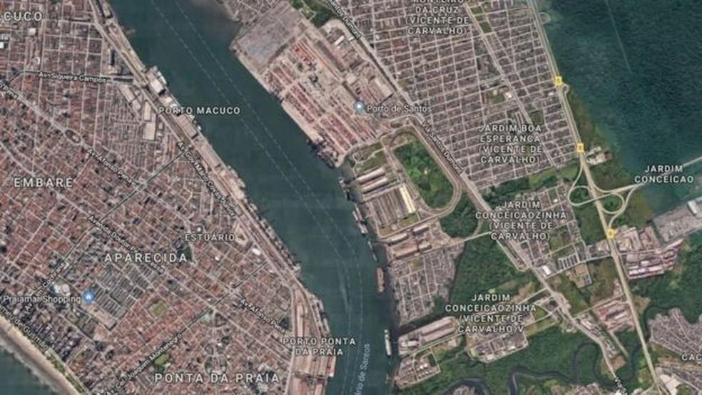 Pesquisador diz que material vai para o exterior pelo Porto de Santos, no litoral de SP — Foto: Reprodução/Google Maps