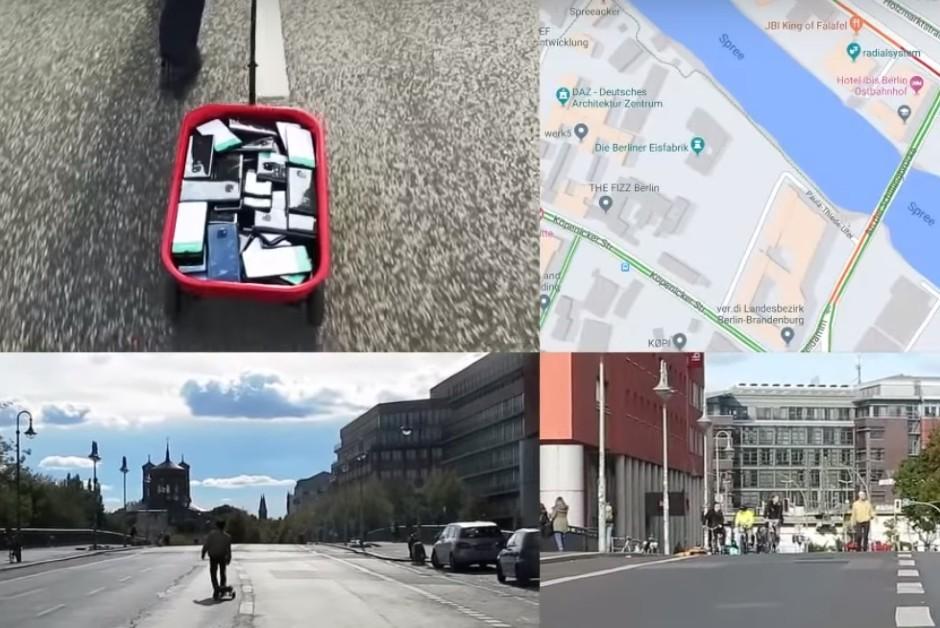 Artista utilizou dezenas de celulares para criar um congestionamento falso (Foto: Reprodução/YouTube)