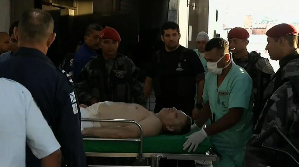 Alemão entrou em hospital na madrugada de terça, quando foi baleado durante tentativa de fuga. (Foto: Reprodução TVM)