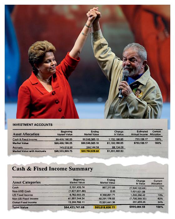 AS CONTAS DA  PROPINA DO PT Trechos de extrato das contas das offshores Fromentera e Mustique. A cada crédito obtido no BNDES nos governos Lula e Dilma, a JBS separava o percentual das propinas nas contas. O dinheiro foi gasto na campanha de Dilma em 2014 (Foto: Reprodução )