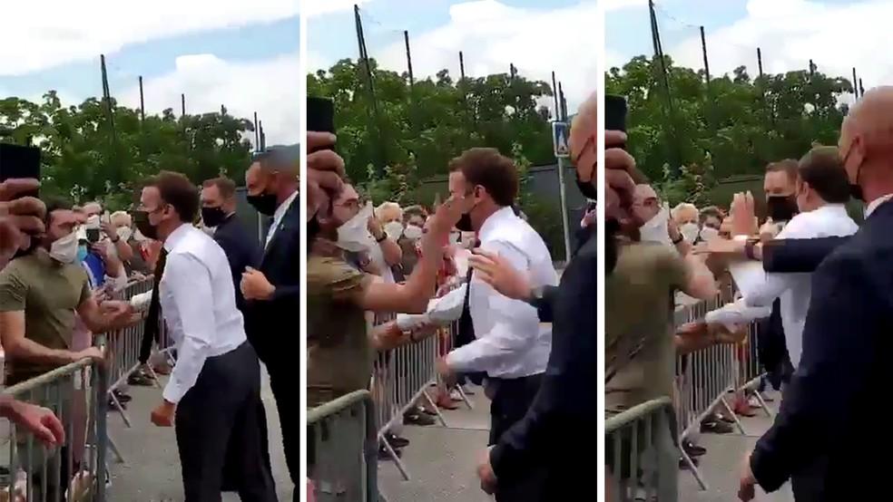 Macron é agredido em visita ao sul da França em 8 de junho de 2021 — Foto: Reprodução/Redes Sociais