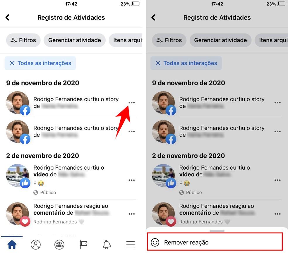Removendo uma reação a um story do Facebook pelo celular — Foto: Reprodução/Rodrigo Fernandes