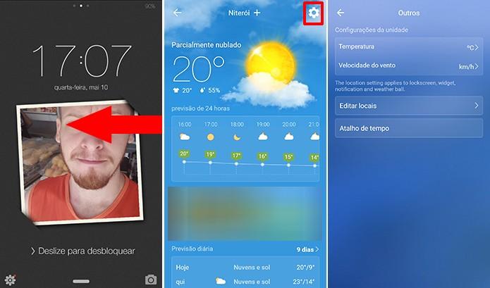 PIP Lock Screen traz previsão do tempo para tela de bloqueio do Android (Foto: Reprodução/Elson de Souza)