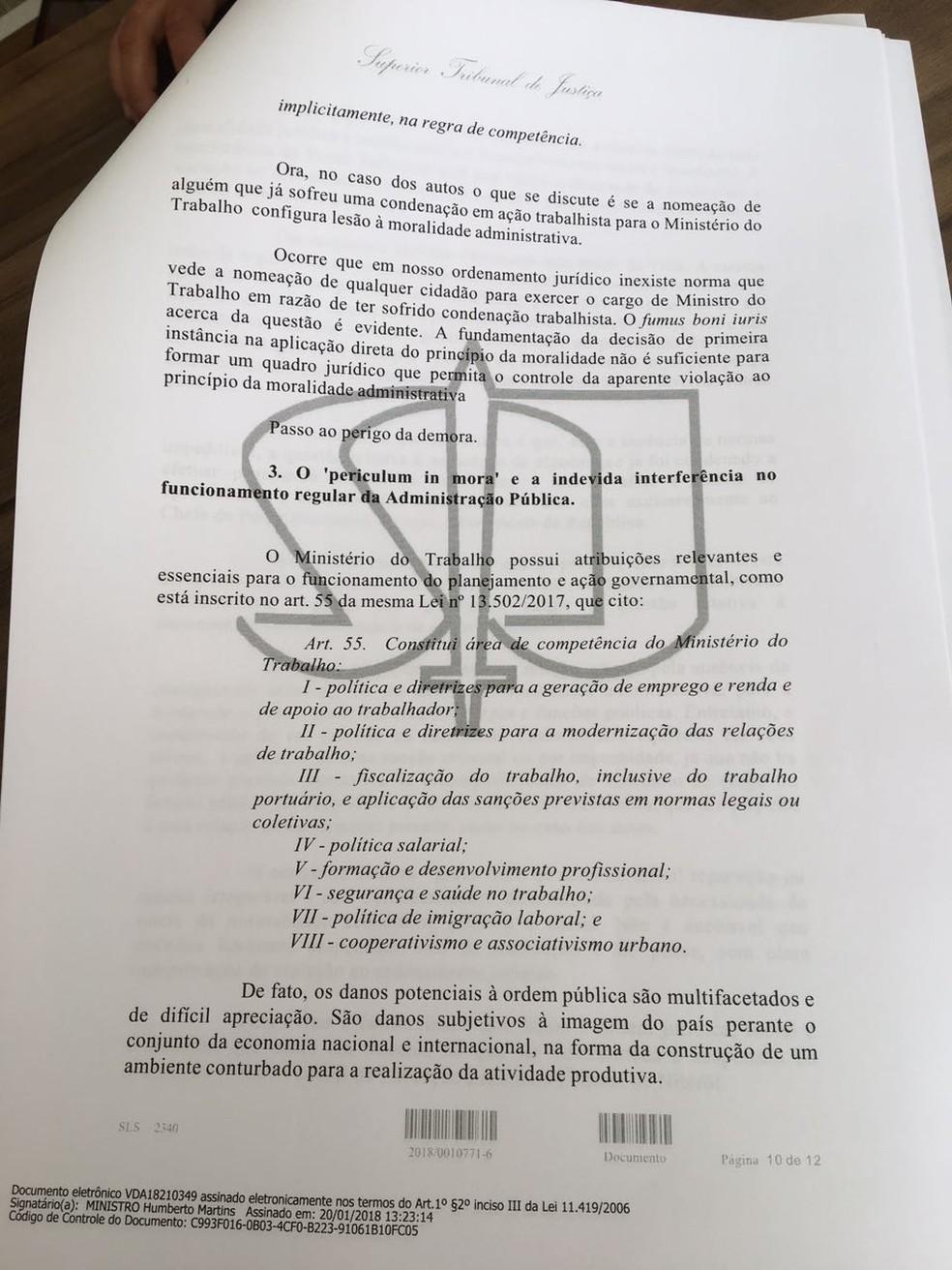 Trecho final da decisão que liberou a posse de Cristiane Brasil (Foto: Reprodução)