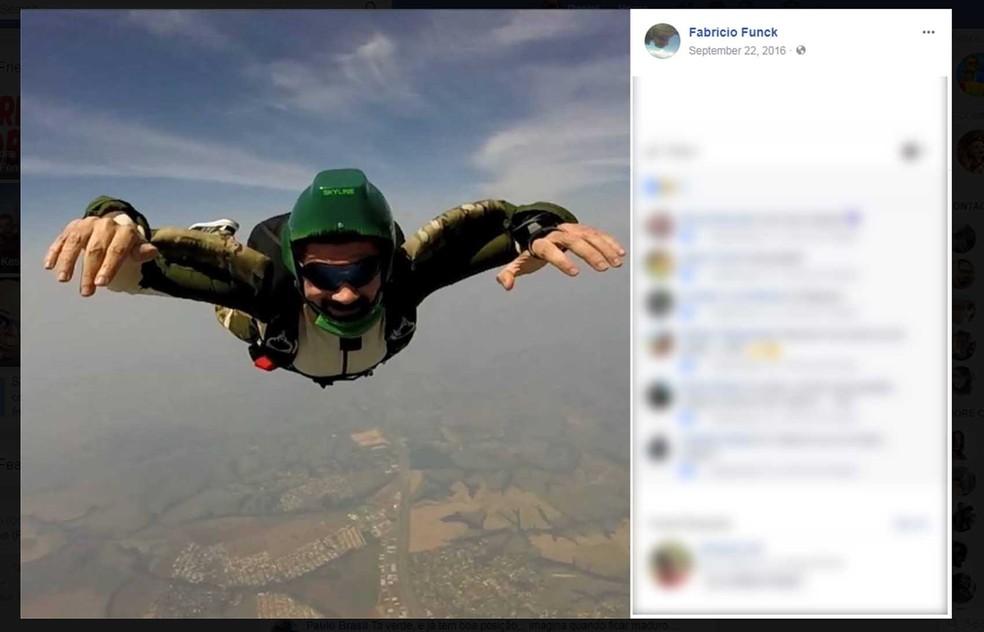 Fabrício Funck era experiente e credenciado junto à Confederação Brasileira de Paraquedismo (Foto: Reprodução/Facebook)