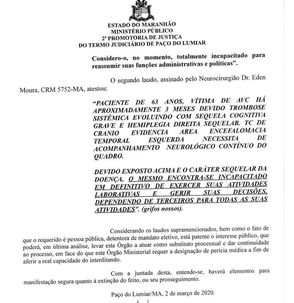 Pedido da promotora Raquel Castro para que Dutra passe por perícia médica antes de reassumir o cargo de prefeito — Foto: Divulgação
