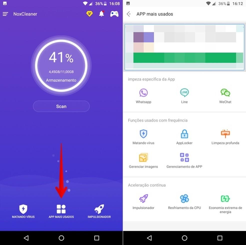 Nox Cleaner oferece ferramentas adicionais para Android — Foto: Reprodução/Helito Beggiora