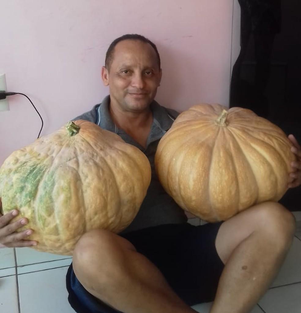 John Araújo 'ostenta' os frutos gigantes que nasceram no telhado da casa dele (Foto: John Araújo)