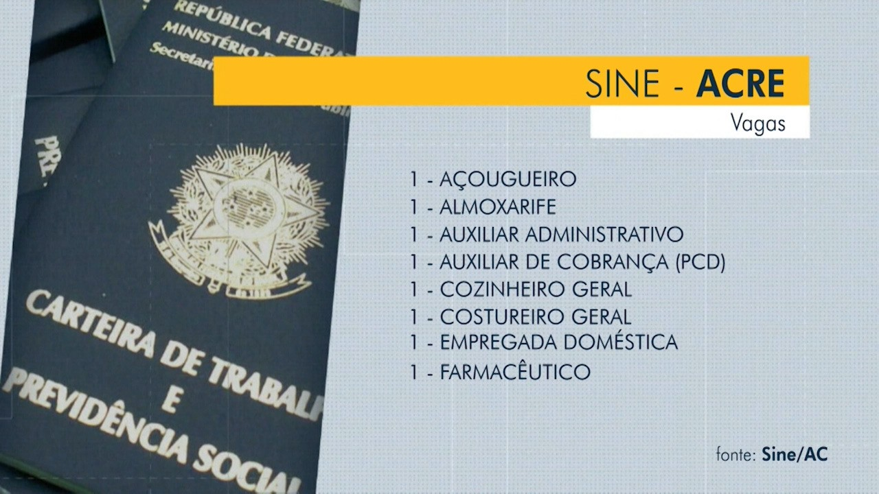 Sine oferece 20 vagas em Rio Branco nesta quinta-feira (24)