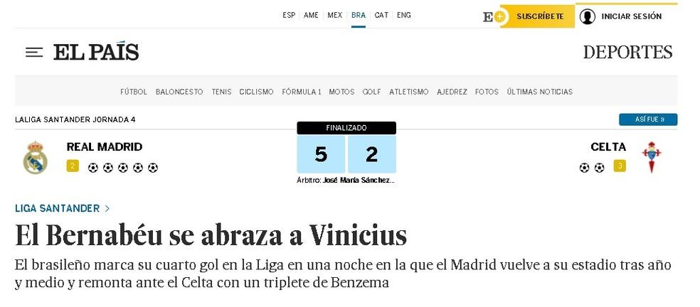 """O """"El País"""" diz que o """"Bernabéu se abraça a Vinicius"""", em referência à comemoração de Vini Jr, que foi para a torcida — Foto: Reprodução/El País"""